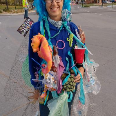 Sheila Freehill as the Great Pacific Garbage Patch for Halloween